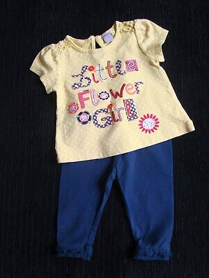 Baby clothes GIRL 6-9m yellow, navy blue, red outfit top/soft leggings SEE SHOP!