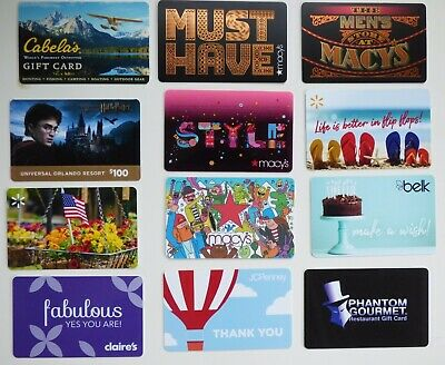 Collectible Gift Card - YOU CHOOSE 3 for $1.59 - Macy's, Belk, Universal Studios
