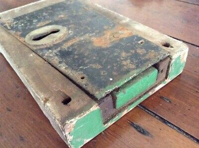 Antique Wood And Iron Large Door Lock 25.5cm (No Key) Church Chapel Farm Old