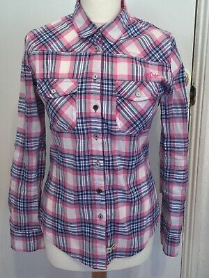 Ladies Lee Cooper Vintage Style Apparel Pink Check Shirt Size 8