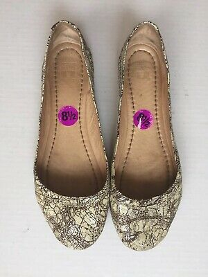 82fa84265 Frye Women Carson Ballet Distressed Silver Cream Brown Leather Flat Shoes  8.5