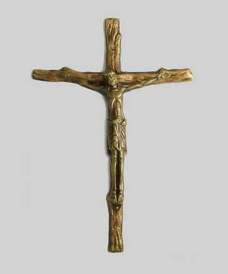 Solid Bronze Hanging Wood of the Cross Crucifix