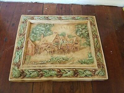 "Antique 12"" x 10"" Hand Carved Painted Ceramic Tile, Horse & Buggy, Forest"