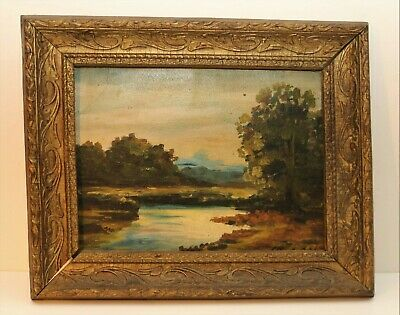 Antique Landscape Oil Painting on board, signed illegible
