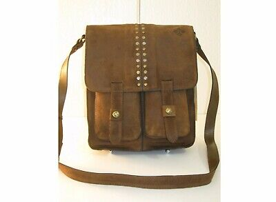 Patricia Nash Armeno Messenger Brown Leather Crossbody Studded Flap  ~$199