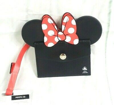 Disney Parks Minnie Mouse Ears & Bow ID Holder Lanyard