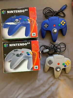 Nintendo 64 Controllers Grey And Blue Both Boxed