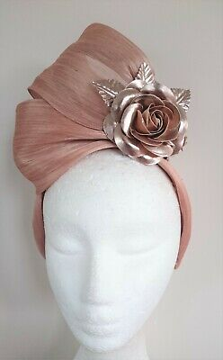 Nude Gold Flowers Leaves Turban Fascinator Headband Crown Races Melbourne Cup