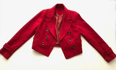 Vintage 1980s Red Wool blend Cropped Double Breasted Jacket Size 10