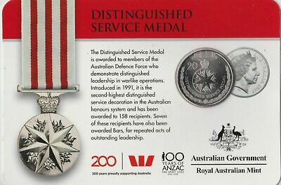 Australian Distinguished Service Medal 20 cent carded coin UNC 2017