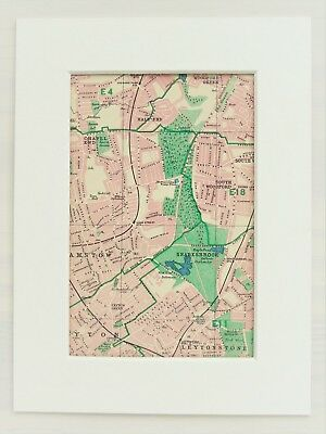 Vintage 1940s London Map - Mounted - Colour - East, Walthamstow, South Woodford