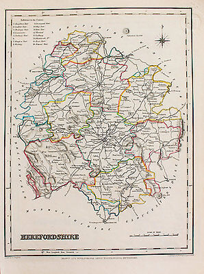 Herefordshire County Hand Coloured Map, Antique Map c. 1848 by Samuel Lewis