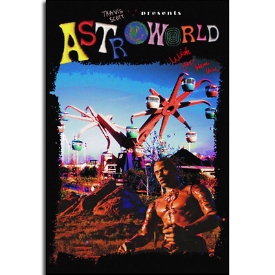 T367 Travis Scott Astroworld Hip Hop Rap Music Star Art Silk Poster