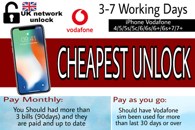iPhone 6S+ 6S,6 5S 5C 5 SE 4S 4 Factory Unlock CODE Service FOR VODAFONE UK