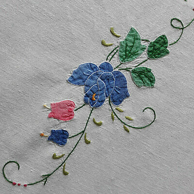"""Tablecloth White Linen Embroidery Flowers 55"""" x 58"""" Handmade Vintage Lace"""
