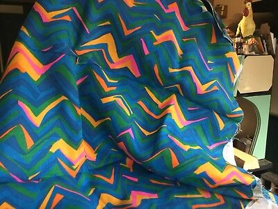 "VTG 60s NOS NEW PSYCHEDELIC WILD FLUORESCENT 1 1/4 YDS 64"" Wide COTTON FABRIC"