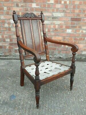 Stunning antique Regency Victorian carved oak armchair parlour library chair