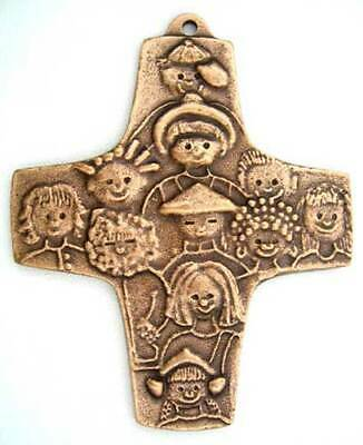Solid Bronze Hanging Children of the World Cross