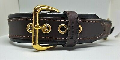 Brown on Black leather Martingale dog collar with Solid brass hardware & chain