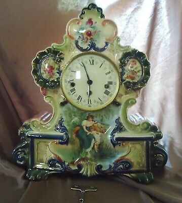 Vintage Uhrenfabrik Germany Erhard Jaucht Ceramic Mantel Clock W/One Key