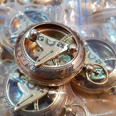 Lot of 50 Brass Sundial Push Button Mini Compass Marine