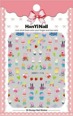 Nail Art Stickers Decals Pig Children's Kids Party Bag Favours Cartoon