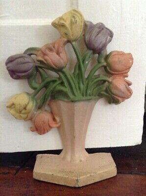 Vintage Cast Iron Flowers In Vase Painted Door Stop Ornament Farmhouse Style