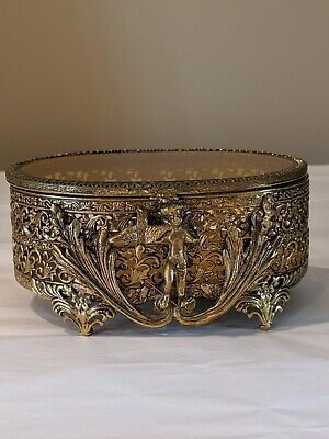 Vintage Ormolu Cherub Jewelry Casket Box with Beveled Amber Glass