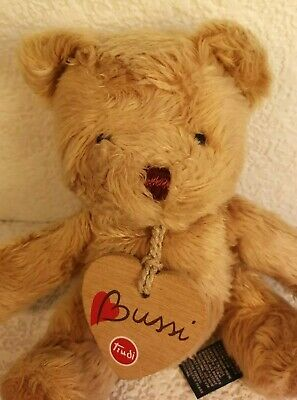 "RARE ITALIAN TRUDI BUSSI SMALL PLUSH SOFT TEDDY BEAR TOY w HEART ~ 5""/12.5 cm's"