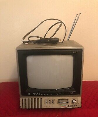 Vintage Hitachi Solid State Color TV Receiver CT0911 - 80's Car Tv Working