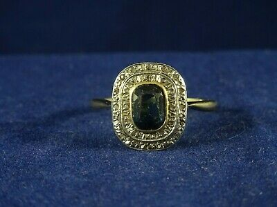 Lovely 18ct Gold French Art Deco Sapphire Blue Tourmaline & Diamond Ring. Size P