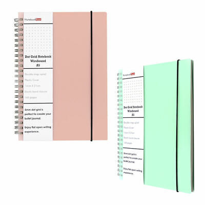 Dot Grid Notebook A5 Spiral for Bullet Journal Dotted Wirebound Hard PP Lay Flat