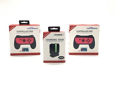 2-Pack For Nintendo Switch Grips Kit Controller and 4 in 1 Charge Station Dock