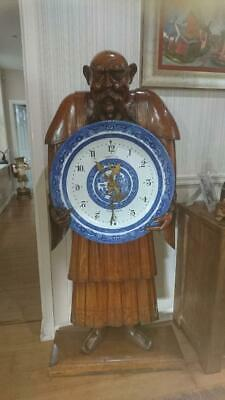 Antique Chinaman clock Top exhibition quality ,life size carved oak figure c1875