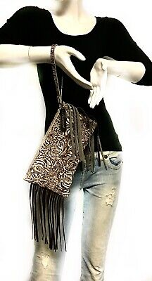 Raviani Wristlet Bag W/ Fringe In Tan & Brown Western Floral Leather MADE IN USA