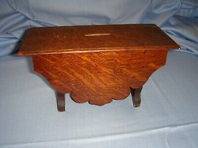minature solid oak table money box vintage antique hand made ? apprentice piece