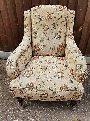 Antique Upholstered  sprung Armchair