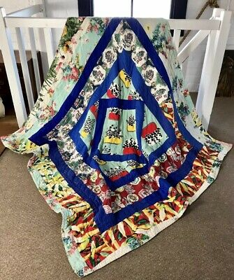 1950's French Quilt Handmade Hand Stitched Vintage Antique Textiles Patchwork