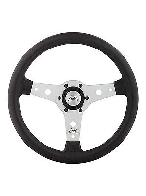 """CLASSIC SPORT STEERING WHEEL 340mm 13.4"""" LUISI """"FALCON"""" SILVER MADE IN ITALY"""