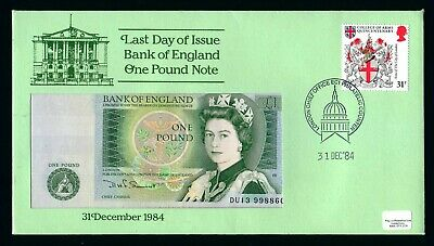 """Last Day of Issue Banknote First Day Cover - Bank of England £1 """"DU13"""" Prefix"""
