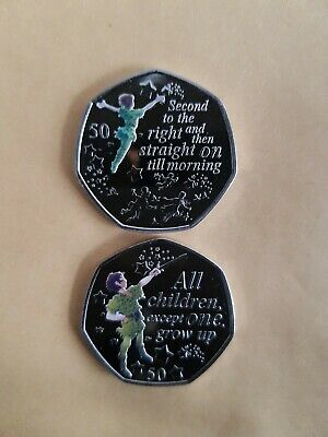 2019 Peter Pan 50 p coin + Peter Pan flying MINT NEW + decal