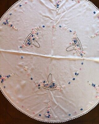 """Vintage Embroidered Linen Round Tablecloth  Pink,Blue,White Flowers Basket 40"""""""