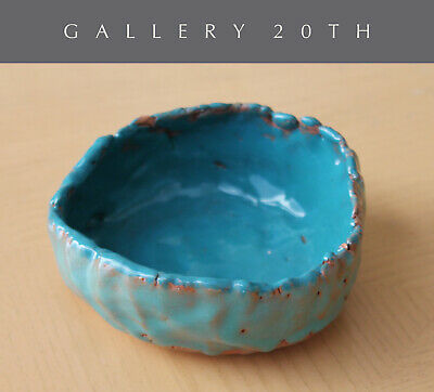 Cute! Small Mid Century California Modern Pottery Bowl! Blue Art Vtg 1950S