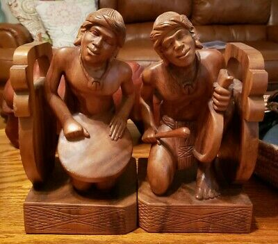 ~Wonderful Large Vintage Wooden Bookends Hand Carved~ Fine Quality
