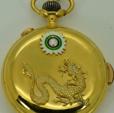 Antique Qing Dynasty Chinese 18k gold,enamel,Pearl&Dimond Repeater watch.Erotic