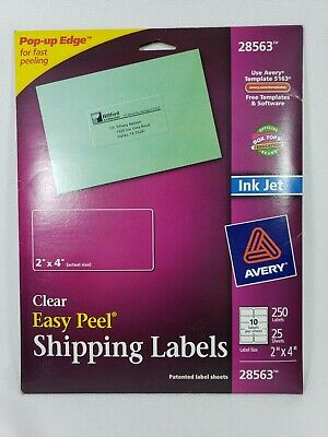 Avery Easy Peel Clear Inkjet Shipping Labels 28563 2 x 4 Clear 250 Labels Ink Je
