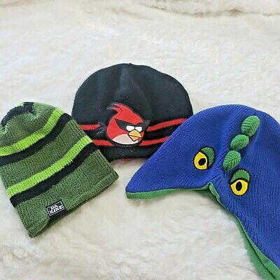 71e04403db2b41 Kids Beanie Hat Lot Angry Birds Monster Da Kine Green Black Red Blue Boys  Youth