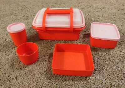 Vintage Tupperware Pak N Carry Lunchbox Orange 9 Piece Set Containers Lids