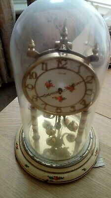 CLOCK 400 DAY GLASS DOME CLOCK WITH GLASS DOME BY KUNDO WEST GERMANY LOT No 1