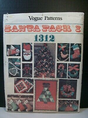 Vogue Patterns Santa Pack 1312 Christmas Crafts stocking Wreath Skirt Advent Orn